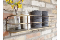 Industrial Vintage Chic Retro Wall Storage Shelf Display Shelving Gold Unit