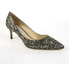 Jimmy Choo Romy 60 Women's Black Silver Glitter Star Pumps 40.5/US 10.5 ARG182