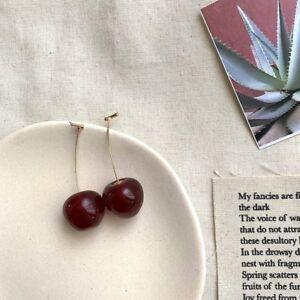 Fashion Red Cherry Acrylic Earrings Drop Dangle Ear Stud Tassel Women Jewelry