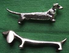 Pair Art Deco Silvered Long & Short Haired Dachshund Dog Knife Rests  Xmas Table