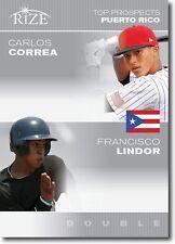 "CARLOS CORREA & FRANCISCO LINDOR 2012 LEAF RIZE ""TOP PROSPECTS"" ROOKIE CARD!"