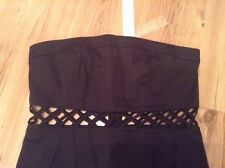 "BNWT "" Lipsy "" Size 14 Rare Waist Cut Out Black Dress Strapless (42 EU) New"