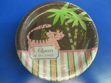 """Queen of the Jungle Pink Brown Dots Stripes Baby Shower Party 7"""" Dessert Plates"""