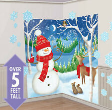 WINTER WONDERLAND Scene Setter Christmas party wall decor 32pc snowman reindeer