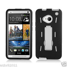 HTC One (M7) Hybrid S Armor Hard Case Skin Cover w/Stand Black White A1