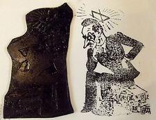 Ancien cliché d'imprimerie caricature politique le penseur Ésotérisme 1900 à 30