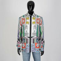 VERSACE 1395$ Signature Ancient Mythology Print Shirt In Multi Color Silk