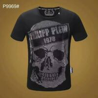 PHILIPP PLEIN Black Skull Beading Men Casual T-shirt P9969# Size M-3XL