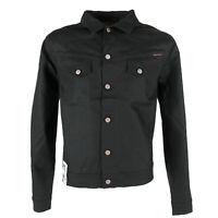 Neu Nudie Herren Raw Denim Slim Fit Jeans-Jacke |Conny Dry Black Coated