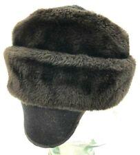 Vintage Faux Fur Cossack Winter Hat Fold Down Ear Flap Unbranded Small 6 1/2