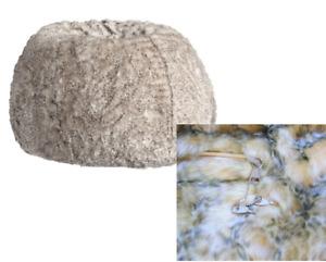 "Pottery Barn Baby Leopard Faux Fur BEAN BAG CHAIR SLIP COVER Cream Brown 36"""
