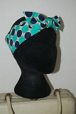 Geometric dot squares atomic dolly bow mod skin head scarf 50s pinup hair wrap