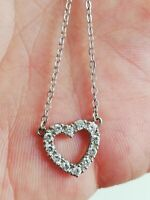 Collier cœur AGATHA en argent massif et zirconium