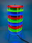 RARE VTG Blacklight Table Lamp Neon Lucite Disc Aluminum Spencer Gifts Space Age