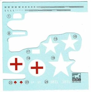 Bronco Models CB35156 1/35 Fiat 'Topolino' Light Staff Car decals only