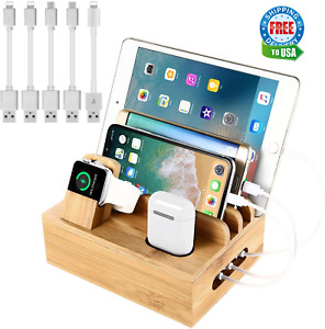 Bamboo Desktop Organizer, Charging Station for Multiple Devices + 5 Gift Cables
