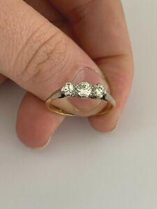 18ct gold platinum 1/2ct diamond ring, 3 stone art deco