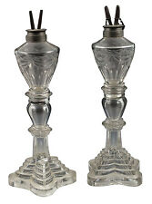 Early Pair of 19th C Boston Sandwich or Pittsburgh Glass Whale Oil Lamps