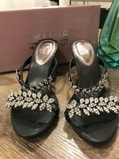 LADIES BLACK DIAMANTE / BLING WEDGE SHOES - SIZE 9