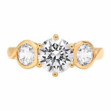 1.85ct 3Stone Round Cut Solitaire Engagement Bridal Wedding Ring 14K Yellow Gold