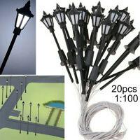 20pcs Model Railway Train Layout Street Lights HO Scale 1:100 LEDs Lamps Plastic