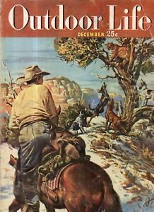 1949 Outdoor Life - December - Bob Kuhn; Snake River Bulls; The art of Tracking
