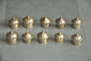 10 Pc Old Brass Unique Shape Handcrafted Kumkum Powder Boxes