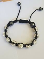 with silver sparkly tone beads Fashion Jewellery Bracelet black cord type