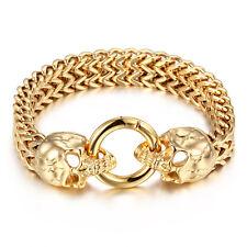 Large Gold Stainless Steel Bracelet Gold Biker Skull Head Charms Bangle 24mm 9''