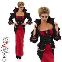 Ladies Gothic Vampiress Fancy Dress Vampire Halloween Costume Outfit Size 8-30