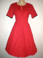 LINDY BOP NEW VTG 50'S BLACK TRIMMED RED STYLE ROCKABILLY SWING DRESS SIZE 10