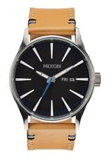 **BRAND NEW** NIXON WATCH SENTRY LEATHER NATURAL BLACK A1051602 NEW IN BOX!