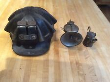 Miner's Leather Turtle Hat, Autolite Lamp And Miners Wick Teapot Lamp