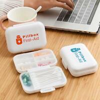 Tragbar Pillenbox Splitter Spender Tablett Medizin Ordner Hülle für Reisen