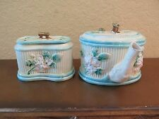 Antique Tea Pot and Sugar Lidded Bowl Majolica White Blue Unique Design