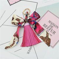 Women Scarves Key Holder Bow Knot Bag Charm Pendant Leather Tassels Key Chains