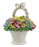 Authentic Italian Capodimonte Flower Mix Bouquet Basket Made In Italy