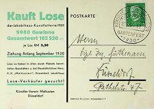 GERMANY 1930 JAKOBIHAUS ART LOTTERY KV MALKASTEN DUSSELDORF USED PPC W/ 5pf