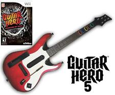 NEW Nintendo Wii Guitar Hero 5 Wireless Guitar & GH Warriors of Rock Game Bundle