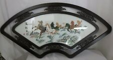 Rare Chinese Silk on Silk Embroidery Arch Frame Horses Signed