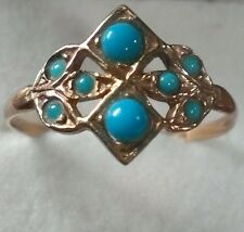 Antique Victorian 1800s .75ct Natural Turquoise 18k Gold Ring