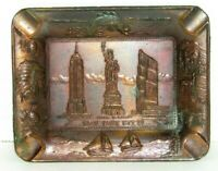 Vintage New York City Copper Square Ashtray Rustic Sailing Statue Of Liberty
