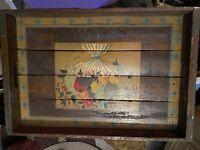 Vtg Handmade Barn Wood Serving Tray Hand Painted Vase Of Flowers