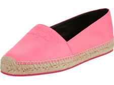 Burberry Hodgeson Logo Neon Leather Espadrille Flat Shoes 37