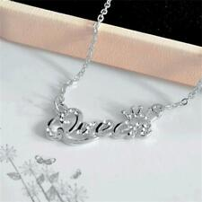 Women's Rhinestone Jewelry Necklace Letter Pendant Party Beauty Clavicle Chain Silver