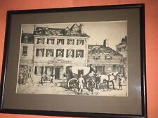 E.T. Scrowcroft Signed Black and White Print of the Indian Queen Tavern