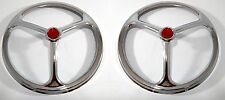 "Pair 7"" Inch Chrome Lucas Tri Bar Red Dot 2 Headlight Covers Head Lamp Hot Rod"