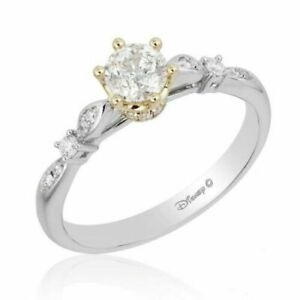 1.10 Enchanted Disney Princess Round Diamond Jewelry Engagement Ring 925 Silver