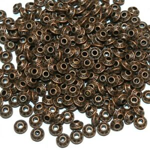 MB392 Antiqued Copper 6mm Bicone Saucer Rondelle Metal Spacer Beads 50pc