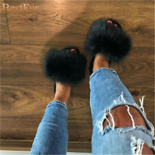 Womens Slides Real Fox Fur Sliders Beach Summer Sandals Slippers Casual shoes